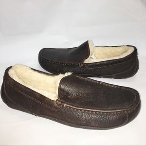 Ugg men's slippers moccasins brown leather 11